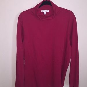 Coldwater Creek Mock neck Tee Red 2X LS EUC Cotton